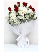 afyonda çiçekçi, gül papatya buketi